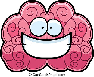 Brain Smiling - A cartoon pink brain happy and smiling.