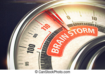 Metal Speedmeter with Red Punchline Reach the Brain Storm. Illustration with Depth of Field Effect. 3D.
