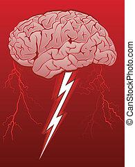 Brain Storm - Human Brain with Lighting Bolt