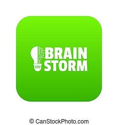 Brain storm icon green