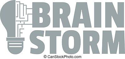 Brain storm logo, simple gray style