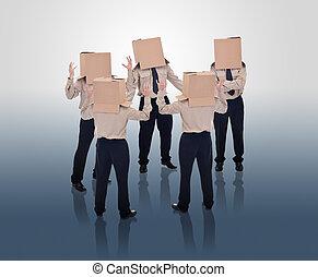 Brain storming businessmen with cardboard box heads