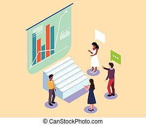 brain-storming, gens, devant, graphiques, fonctionnement, procédés, groupe, business