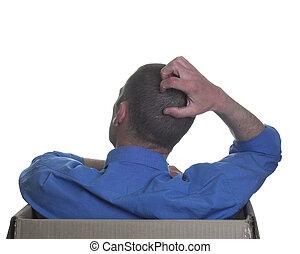 Brain strain - Man having a cerebral moment thinking outside...