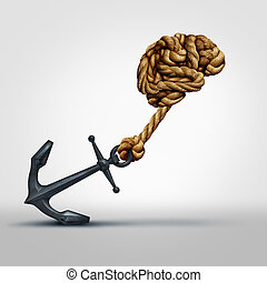 Brain strength concept as a group of ropes shaped as human thinking organ pulling a heavy anchor as a symbol for cognitive function and exercises to strengthen the mind through education and learning.