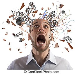 Brain stressed - Stressed businessman with broken mechanism...