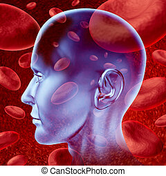 Brain stroke - Human brain stroke blood circulation symbol ...