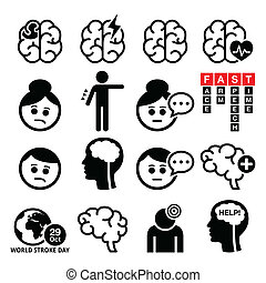 People suffering form brain injury icons set isolate on white
