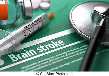Brain stroke. Medical Concept on Green Background.