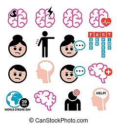 Brain stroke vector health medical icons - brain injury, brain damage concept