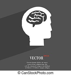 Brain symbol Flat modern web design with long shadow and space for your text. Vector
