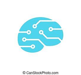 Brain technology logo - Simple brain shape silhouette with...