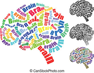 brain text - illustration of text brain with brain shape