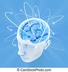 Brain (The Power Of Mind) - Head illuminated by the energy ...