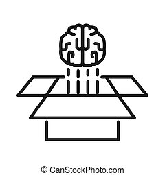 brain think out of the box vector illustration design