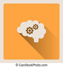 Brain thinking illustration on yellow background with shade