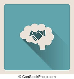 Brain thinking in an agreement illustration on blue background with shade