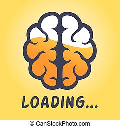 Brain Thinking Loading Progress Icon - Vector stock of human...
