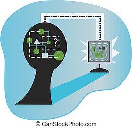 Brain to PC - Conceptual image of unorganized data in the...
