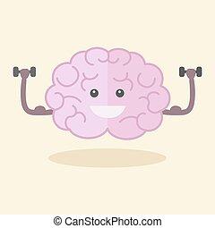 Brain training flat style vector illustration