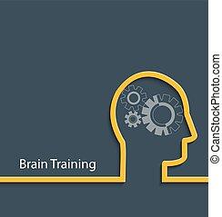 Brain training, vector. - Brain training concept. Gear head....