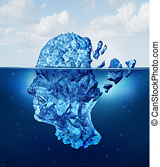 Brain trauma and aging or neurological damage concept as an iceberg floating in an ocean breaking apart as a health crisis metaphor for human mental stress and a symbol for psychology and psychiatric problems.