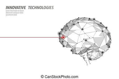 Brain treatment low poly 3D render. Drug nootropic human...