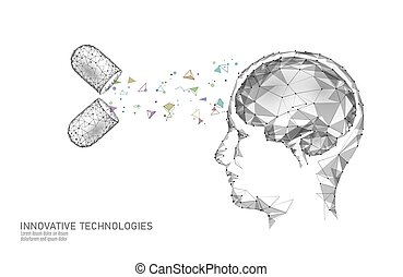 Brain treatment low poly 3D render. Drug nootropic human...