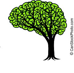 Brain Tree Connectivity Logo Design Illustration