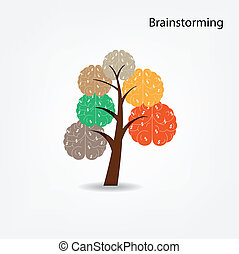 Brain tree illustration, tree of knowledge, medical, environmental or business concept