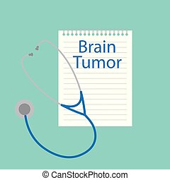 Brain tumor written in a notebook