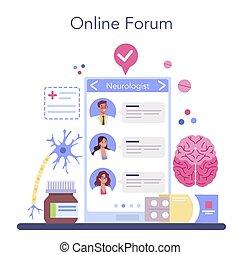 brain., undersöka, eller, neurologen, platform., mänsklig, läkare, direkt, service