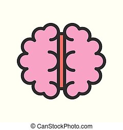 brain upper view, filled outline vector icon