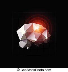Brain vector illustration. Pain source, headache, polygonal design. Brain disease, lowpoly icon. Red circles on crystal brain. Neuron impulse, logo template.