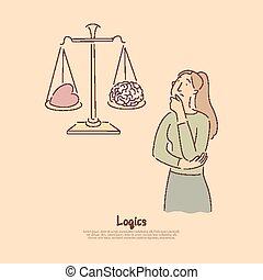 Brain vs heart on scales, logical thinking versus emotional reaction metaphor banner
