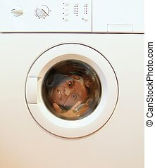 Brain Wash - Man inside a washing machine