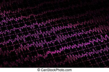 brain wave EEG isolated on black background