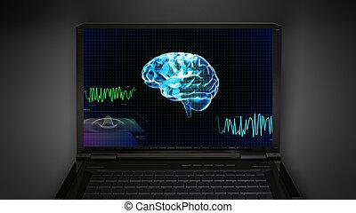 brain wave is display on laptop screen