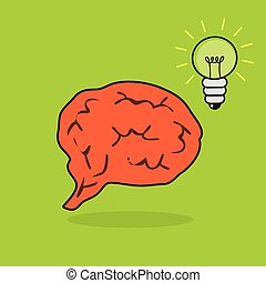 Brain with a lightbulb
