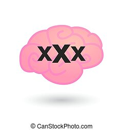brain with a triple x sign - illustration of an isolated...