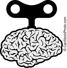 Brain with a wind-up key - Human brain with a wind-up key ...