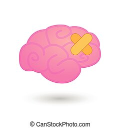 Brain with adhesive bandage