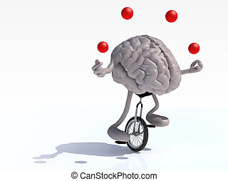 brain with arms and legs juggle rides a unicycle - human...