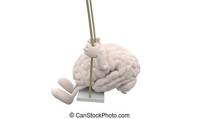 brain with arms and legs on a swing, 3d animation