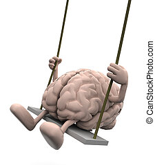 brain with arms and legs on a swing - human brain with arms...
