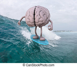 brain with arms and legs surfing