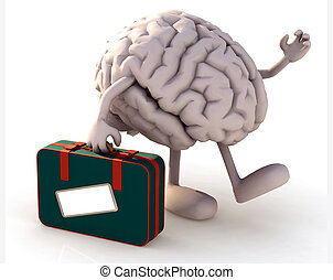 brain with arms and legs that take a suitcase, 3d...