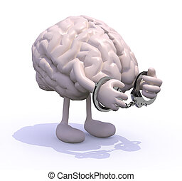 brain with arms, legs and handcuffs - human brain with arms,...