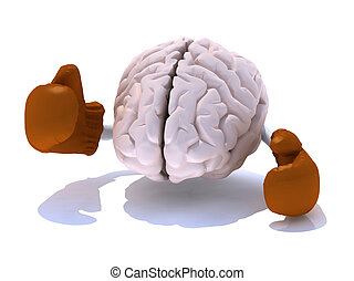 brain with boxing gloves in a fight, 3d illustration