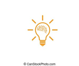 Brain with bulb icon Logo vector of idea and think